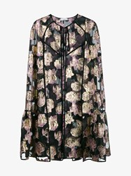 Erdem Angela Floral Embroidered Cape Black Multi Coloured