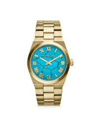 Michael Kors Mid Size Channing Golden Stainless Steel Three Hand Watch