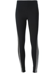 Norma Kamali Metallic Stripe Leggings Black