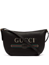 Gucci Logo Print Leather Messenger Bag Black