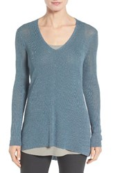 Eileen Fisher Women's Organic Linen Blend V Neck Sweater