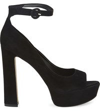 Aldo Rocha Suede Heeled Sandals Black Nubuck