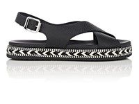 Barneys New York Crisscross Strap Leather Espadrille Sandals Black