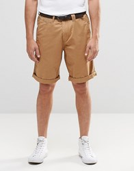 Esprit Chino Shorts With Faux Leather Belt Camel Beige