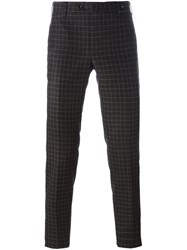 Pt01 Checked Skinny Fit Trousers Brown