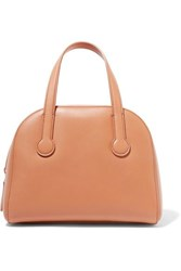 The Row Sporty Bowler Small Leather Tote Tan
