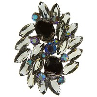 Eclectica Vintage 1950S Chrome Plated Glass Stone Abstract Brooch Grey