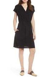Halogen Faux Wrap Dress Black