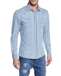 Brunello Cucinelli Denim Western Shirt Blue