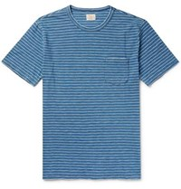 Faherty Striped Cotton Jersey T Shirt Blue