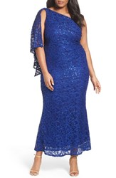 Marina Plus Size Women's Sequin Lace One Shoulder Gown
