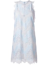 Carven Flared Lace Dress Blue