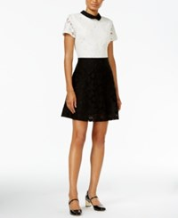Maison Jules Lace Collared Fit And Flare Dress Only At Macy's Deep Black