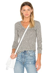 Bobi Mini Striped Jersey Long Sleeve V Neck Top Gray