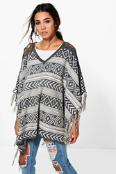 Boohoo Lace Up Aztec Tassel Poncho Grey