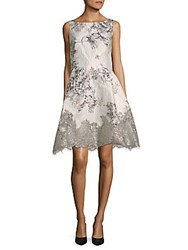 Rene Ruiz Textured Print Lace Paneled Mini Dress White Multi