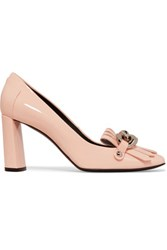 Casadei Chain Embellished Patent Leather Pumps Peach