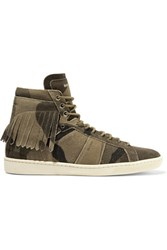 Saint Laurent Fringed Distressed Suede High Top Sneakers Army Green