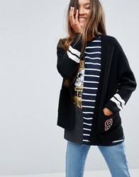 Asos Cardigan With Tipping And Patch Multi