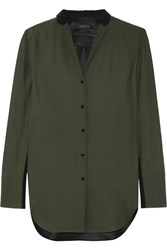 Rag And Bone Leighton Two Tone Silk Charmeuse Shirt Army Green