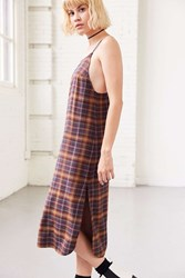 Silence And Noise Paige Plaid Midi Slip Dress Red Multi