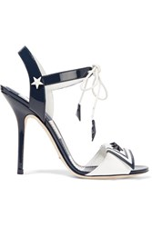 Dolce And Gabbana Embellished Patent Leather Sandals Midnight Blue