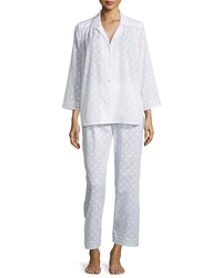 Oscar De La Renta Spa Polka Dot Long Sleeve Pajama Set White
