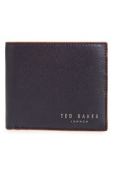 Men's Ted Baker London 'Cardcam' Pebbled Leather Bifold Wallet Blue Navy