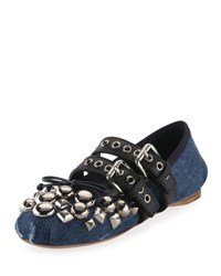 Miu Miu Studded Two Buckle Denim Ballerina Flat Blue