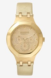 Versus By Versace Laguna City Multifunction Leather Strap Watch 40Mm Gold