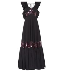 Huishan Zhang Ruffled Paillette Dress Black
