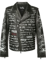 Haculla Text Print Biker Jacket Black