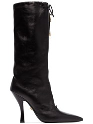 Versace Black 105 Leather Mid Calf Boot