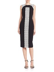 Theia Laser Cut Panel Colorblock Dress Black White