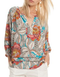 Trina Turk Split V Neck Floral Printed Silk Blouse Multi