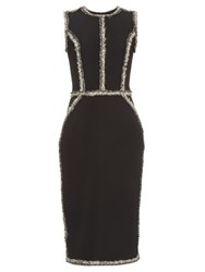 Oscar De La Renta Sleeveless Tweed Trim Pencil Dress Black