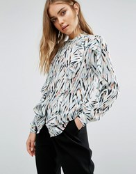 Warehouse Zig Zag Ruffle Blouse Multi