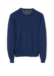Mango Tenc Cotton Cashmere Blend Sweater Mid Blue