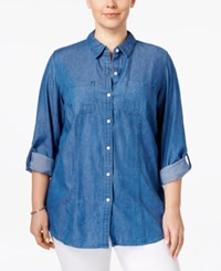 Charter Club Plus Size Denim Roll Tab Shirt Only At Macy's Azure Day Wash