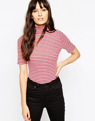 Asos Turtle Neck Top In Stripe With Short Sleeve Creamred