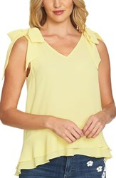 Cece Tie Shoulder Layered Blouse Finch Yellow