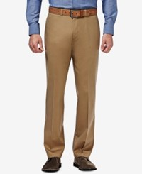 Haggar Men's Premium Straight Fit Non Iron Stretch Flat Front Pants British Khaki