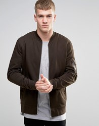 Asos Jersey Ma1 Bomber Jacket In Khaki Hunter Green
