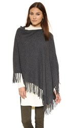 White Warren Cashmere Two Way Fringe Poncho Charcoal Heather