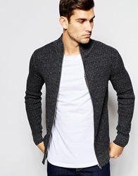 Selected Homme Ribbed Zip Up Knitted Cardigan Grey