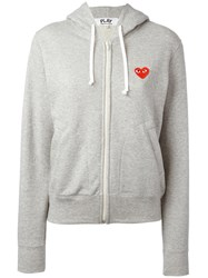 Comme Des Garcons Play Embroidered Logo Hoodie Grey