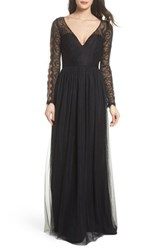 Hayley Paige Occasions 'S Open Back Lace And Net A Line Gown Black