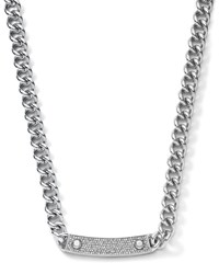 Pave Bar Chain Link Necklace Silver Color Michael Kors
