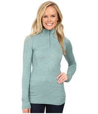 The North Face Long Sleeve Go Seamless Wool 1 4 Zip Deep Sea Light Heather Women's Long Sleeve Pullover Green