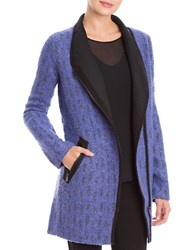 Nic Zoe Alpaca And Wool Blend Tapestry Coat Light Blue